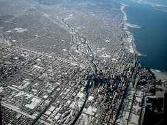 The City of Chicago, Illinois is an example of the early American grid system of development. The grid is enforced even on uneven topography.