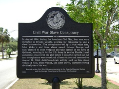 Georgia Historical Marker for the Civil War Slave Conspiracy