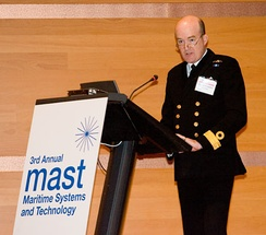 British Royal Navy Commodore gives a presentation on piracy at the MAST 2008 conference.