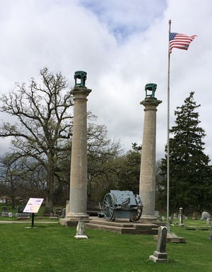The old courthouse columns at Oak Hill Cemetery