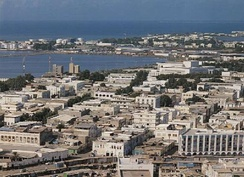 An aerial view of Djibouti City, the capital of Djibouti.
