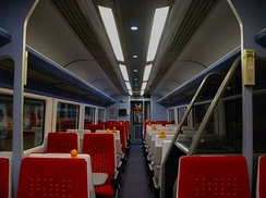 The refurbished Standard Class interior aboard a Mark 3 Trailer Standard HST carriage