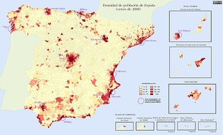 Geographical distribution of the Spanish population in 2008