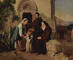 At the monastery gate (Am Klostertor) by Ferdinand Georg Waldmüller