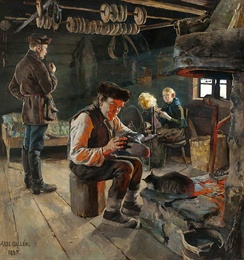 19th century Fennomans consciously sought to define the Finnish people through depiction of the common people's everyday lives in art, such as this painting by Akseli Gallen-Kallela.