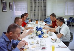 Gemini 8 prime crew and other astronauts at prelaunch breakfast, 1966