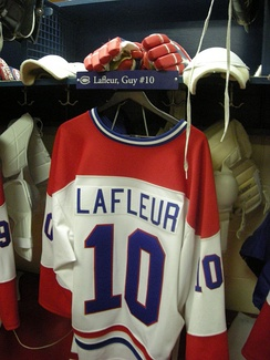 The Guy Lafleur Montreal Canadiens locker room display  at the Hockey Hall of Fame.