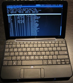 A Hewlett-Packard Mini 1000 netbook computer, a type of notebook computer