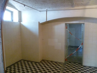 Gas chamber for disabled patients in Hadamar Euthanasia Centre