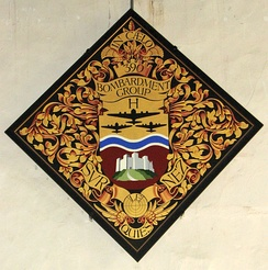 Hatchment commemorating the 390th inside the Church of St Michael the Archangel, Framlingham, Suffolk, England. The 390th was stationed at the Parham Airfield in nearby Parham.