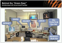 Behind the Green Door – Secure communications room with separate computer terminals for access to SIPRNET, GWAN, NSANET, and JWICS