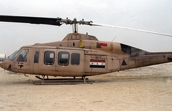 An Iraqi Air Force Bell 214ST transport helicopter, after being captured by a US Marine Corps unit at the start of the ground phase of Operation Desert Storm