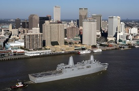 A view of the New Orleans Central Business District as seen from the Mississippi River. USS New Orleans (LPD-18) in foreground (2007)