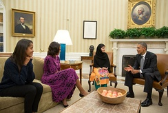 Barack Obama, Michelle Obama and their daughter Malia meet Yousafzai in the Oval Office, 11 October 2013