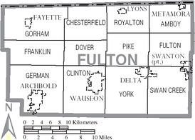 Map of Fulton County, Ohio with Municipal and Township Labels