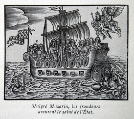 "An anti-Mazarin cartoon from the Fronde (about 1650). The caption reads, ""Despite Mazarin, the frondeurs assure the safety of the state."""