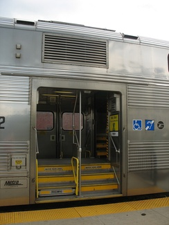 Entrance to a Metra bilevel rail car.