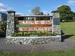 The Mile Zero sign for Canada's Trans-Canada Highway. Victoria is the western terminus for the highway.