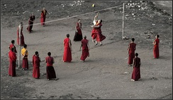 Buddhist monks play volleyball in the Himalayan state of Sikkim, India.