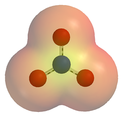 An electrostatic potential map of the nitrate ion (NO−3). The 3-dimensional shell represents a single arbitrary isopotential.