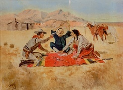"An 1894 painting entitled ""Not a Chinaman's Chance"" by white American artist Charles Marion Russell, which depicted violence in the American West against Chinese immigrants."