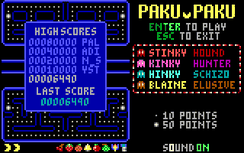 Title screen of PakuPaku, a Pac-Man clone that uses 160×100 mode