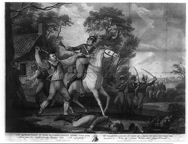 Peter Francisco [left] fighting Tarleton's British cavalry (1814 engraving)