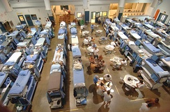 The crowded living quarters of San Quentin State Prison in California, in January 2006. As a result of overcrowding in the California state prison system, the United States Supreme Court ordered California to reduce its prison population (the second largest in the nation, after Texas).