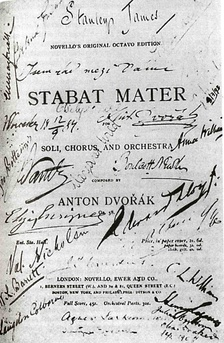 The title page of the score of Stabat Mater