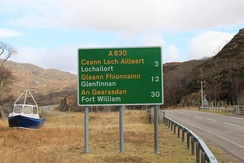 Bilingual (Gaelic/English) roadsigns are found throughout the Highlands and the Hebrides.