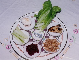 Traditional arrangement of symbolic foods on a Passover Seder Plate
