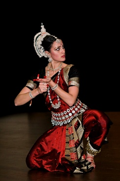 An Odissi dancer in nritya (expressive) stage of the dance.
