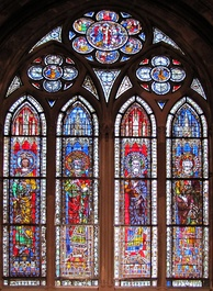Stained glass windows from the Strasbourg Cathedral, Alsace, Bas-Rhin, France, dated circa 1210–1270, depicting emperors of the Holy Roman Empire: Philip of Swabia, Henry IV, Henry V, and Frederick II