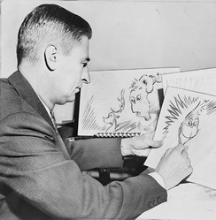 Dr. Seuss working on How the Grinch Stole Christmas! in early 1957