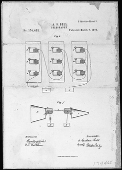 Alexander Graham Bell's telephone patent[81] drawing, March 7, 1876