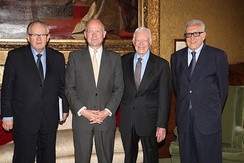 Carter with William Hague, Martti Ahtisaari, and Lakhdar Brahimi from The Elders group in London, July 24, 2013.