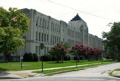 The Art Deco-styled Thomas Jefferson High School in the near West End