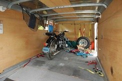 Interior of an enclosed motorcycle trailer
