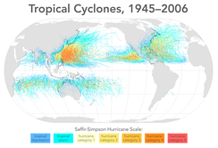 Map of all tropical cyclone tracks from 1945 to 2006.