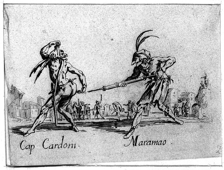 Two Commedia dell'arte performers using a clyster