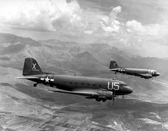 A Douglas C-47 Skytrain in 1944, derived from the Douglas DC-3.