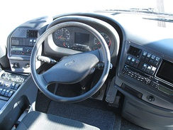 Steering wheel in a VDL Bova bus