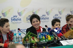 "Vladimir Arzumanyan representing Armenia, who won the 2010 contest with song ""Mama"""