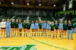 Women's volleyball team of a U.S. university.