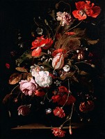 Willem van Aelst, Still life with a watch (c. 1665), with typical dark background.