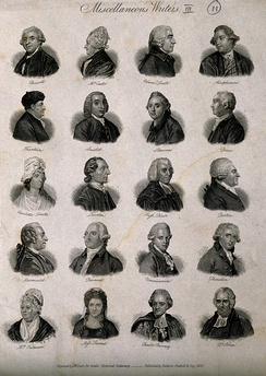 Anna Seward: bottom row, 2nd from left; Writers:twenty portraits. Engraving by J.W. Cook, 1825. Wellcome V0006820