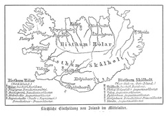 1889 map showing the location in Iceland of the two major Catholic bishoprics, and of the Catholic monasteries under their jurisdiction, before the Protestant Reformation.