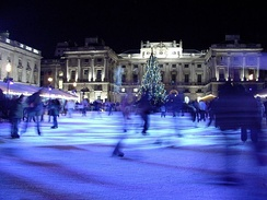 Somerset House adjacent to King's College London's East Wing has a yearly ice skating rink from November to January