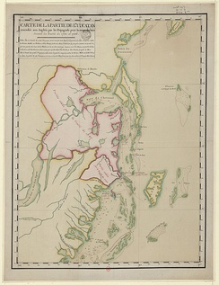 1790 map of territory conceded by Spain to British settlers for cutting timber.