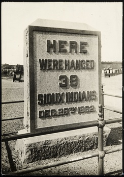 Monument indicating where the thirty-eight Sioux Indians were hanged following the U.S.-Dakota War of 1862, Mankato. Placed in 1912, it was removed in 1971 and transferred during the mid-1990s, most likely to the Dakota Tribal government.